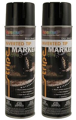 Seymour 20-663 Stripe Inverted Tip Marker Spray Paint, Black (Asphalt) - 2/Pack Inverted Marking Spray Paint