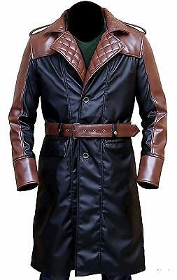 Men's Assassins Creed Syndicate Jacob Frye Costume Hoodie PU Leather Trench Coat](Trenchcoat Costume)