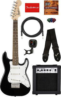 Fender Squier Mini Strat Electric Guitar - Black w/ Amplifier