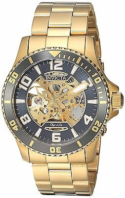 Invicta Mens Objet d'Art Automatic Skeletonized Gold Tone SS Watch