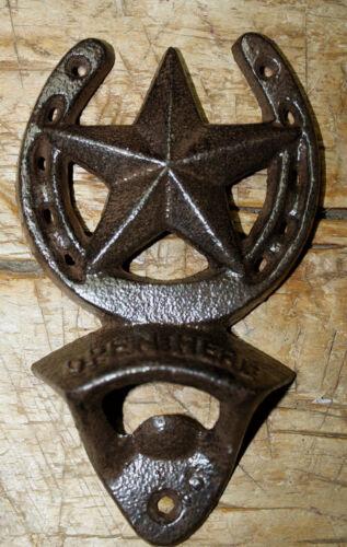 Cast Iron HORSESHOE STAR Plaque OPEN HERE Beer Bottle Opener Western Wall Mount