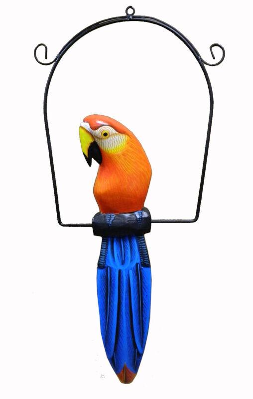 """Bali Tropical Parrot Statue Bird Wood Carving Tiki Bar Safari Jungle Decor 16"""""""