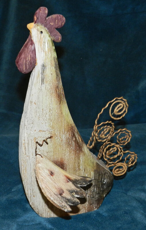 PRIMITIVE DISTRESSED WOOD CHICKEN/ROOSTER!!