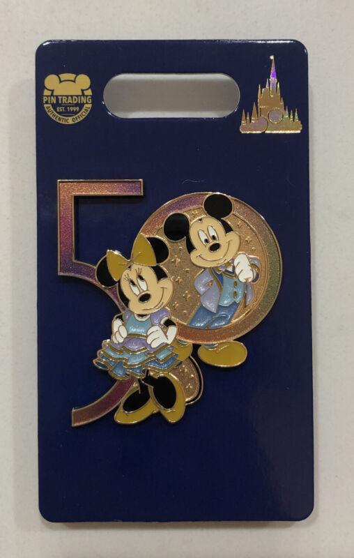 Walt Disney World WDW 50 Pin 50th Anniversary Mickey And Minnie Mouse