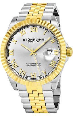 Stuhrling 599G Men's Two Tone Stainless Steel Swiss Quartz Link Bracelet Watch