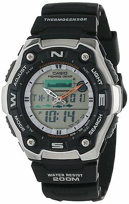 Casio Aqw101 1A Mens Ana Dgi Thermometer Fishing Data Moon Phase Sports Watch