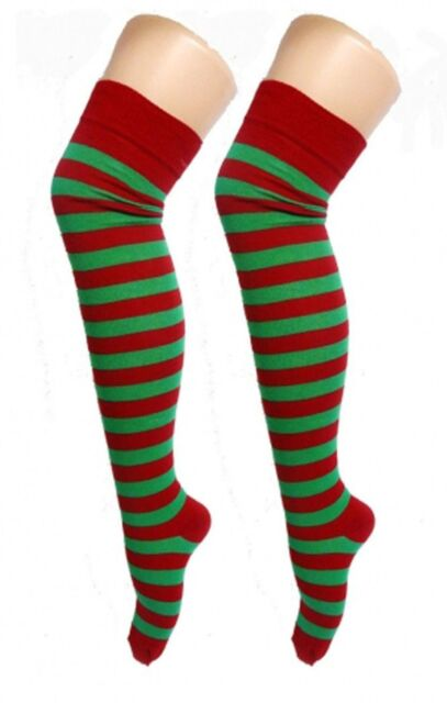 Ladies Red and Green Elf OTK Striped Christmas Socks | eBay