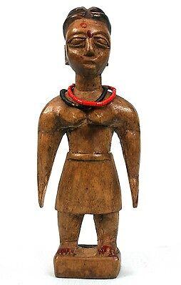 Art African - Antique Figure D'Adoration Ewe Eve - Wood & Beads - 16 CMS