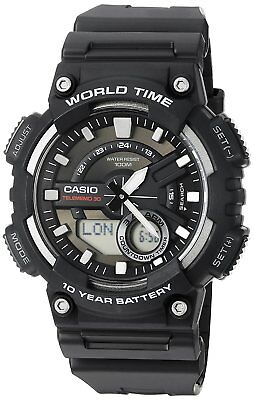 Casio Men's Quartz World Time 10 Yr Battery Black Resin 47Mm Watch Aeq110w-1A