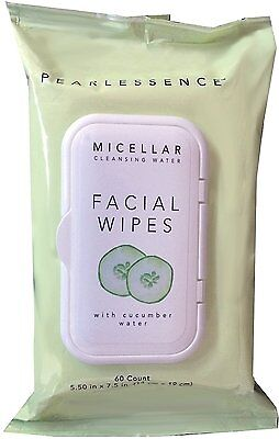 Micellar Cleansing Facial Makeup Remover Wipes w Cucumber Water, 60 Count 1...