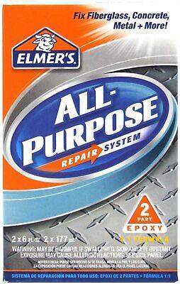 Elmers Epoxy All Purpose Repair System Fix Fiberglass Concrete Metal 12 Oz E765