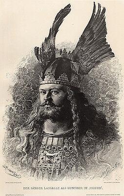 """HENRI DOCHY 1800s Woodcut """"Jean Lassalle As Gunter In Sigurd"""" SIGNED Framed COA"""
