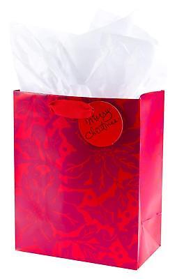 Hallmark Medium Christmas Gift Bag with Tissue Paper (Poinsettias)
