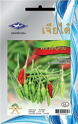 Quality Bird Pepper Seeds 6 Package 636 Seeds Chia Tai Thailand