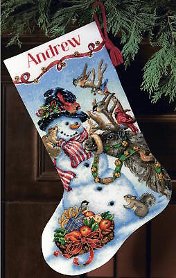 Snowman Gathering Stocking Counted Cross Stich Kit 16