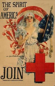 Red Cross Nurse Nursing Poster Howard Christy American Girl WWI New Print 1026