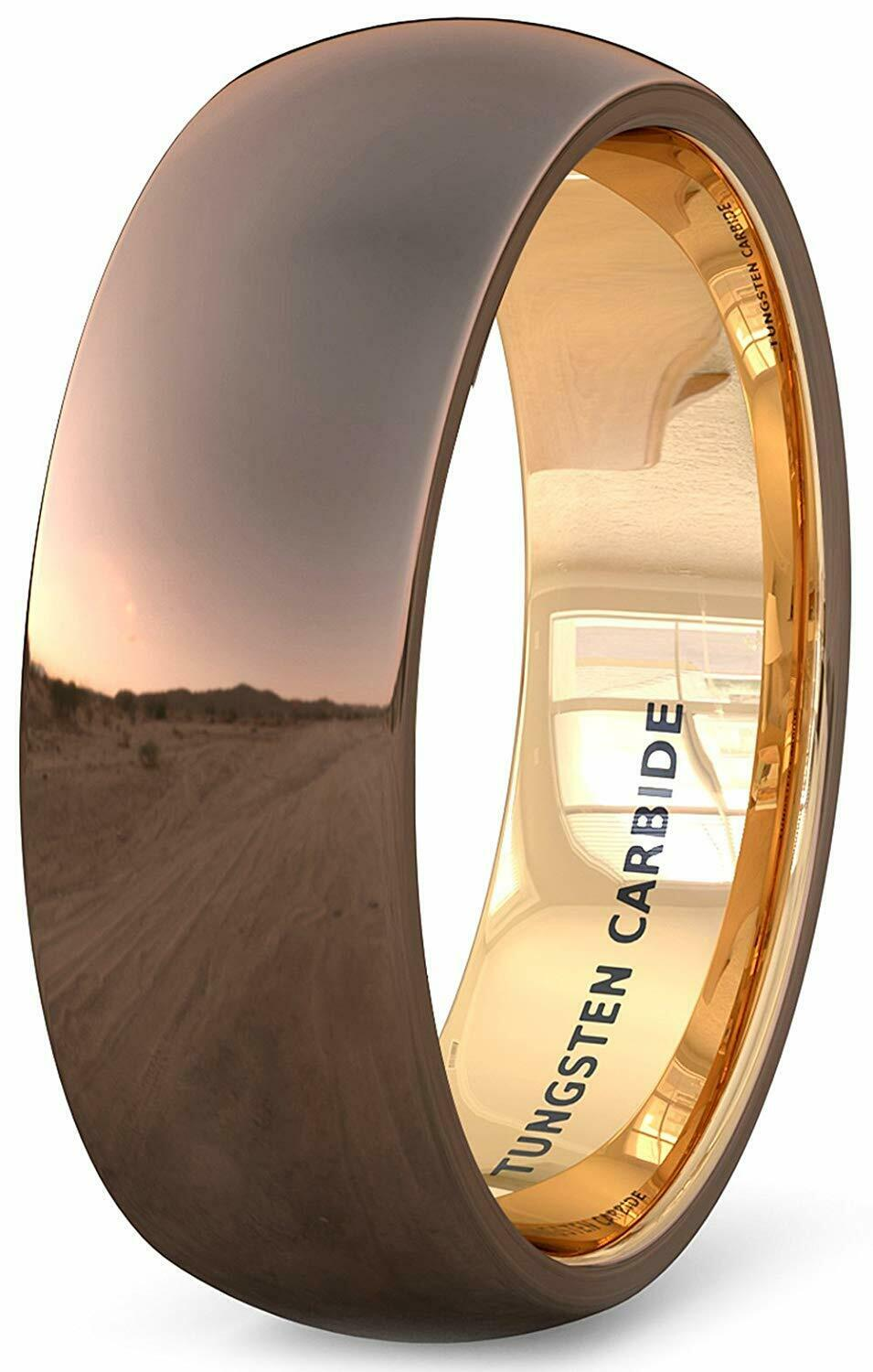 Tungsten Ring Wedding Band Polished Brown Inside Rose Gold Dome Mens Jewelry