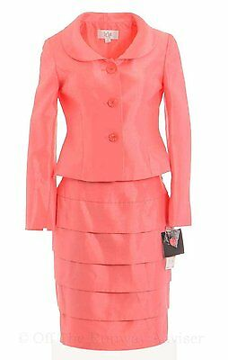 [13 82] Le Suit Women's City Blooms Satin Finish Tiered Skirt Suit Coral Pink 6