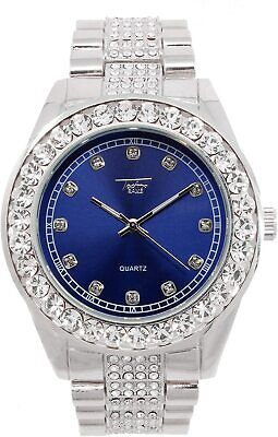 Men Ice Watch Silver Blue Bling Rapper Simulate Diamond Crystal Stone Hip Luxury