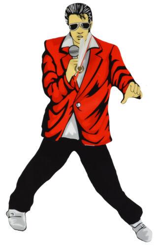Elvis Presley Swinging Legs Pendulum Clock Red Jacket