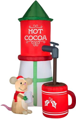 Gemmy 8Ft. Tall Christmas Inflatable Airblown Hot Cocoa Machine with Mouse - New