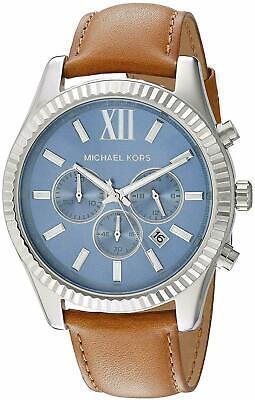 Michael Kors Lexington Chronograph Blue Dial Brown Leather Men's Watch MK8537