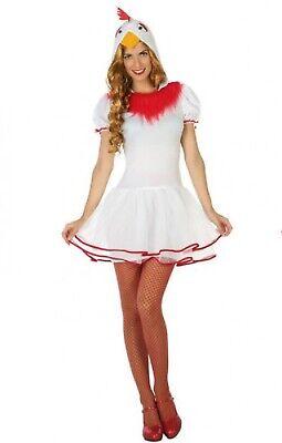 Damen Weiß Junggesellinnenabschied Huhn Ente Vogel Bauernhof Ostern Kostüm (Huhn Vogel Kostüm)