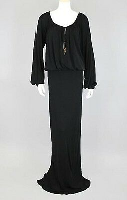 Gucci Black Jersey Maxi Dress with Bamboo Ties XS $2600