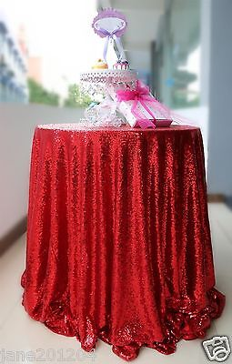 Sale Red 48'' Round Sequin Table cloth Cover For Wedding/Event/Party/Banquet