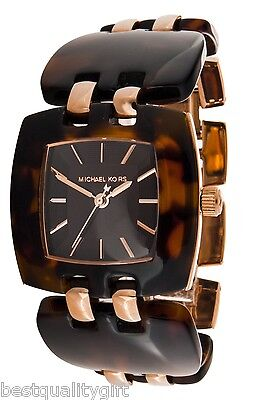 NEW-MICHAEL KORS ACRYLIC BROWN TORTOISE+ROSE GOLD TONE BRACELET WATCH MK4255