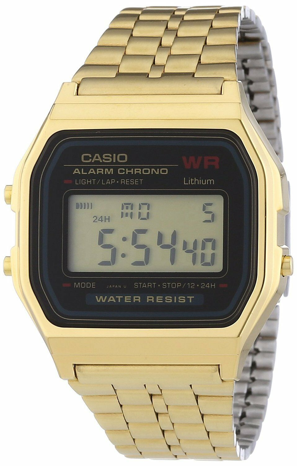Casio A159WGEA-1 Mens Gold Tone Stainless Steel Digital
