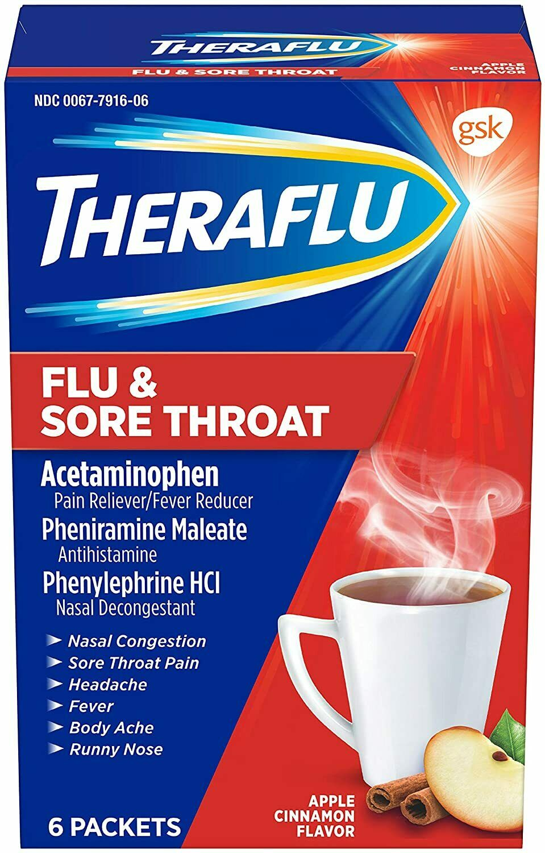 Theraflu Powder for Flu and Sore Throat, Apple Cinnamon