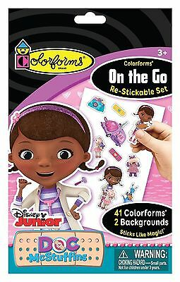 NEW COLORFORMS BRAND DOC MCSTUFFINS On The Go Restickable Set STICKS LIKE MAGIC