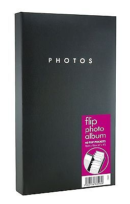 1 x Black Flip Photo Album 16cm x 26cm holds 80 x 6