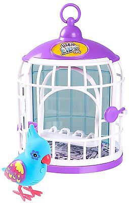 Little Live Pets Tweet Talking Bird W/Cage- Funky Feathers- Slight Damage to Box