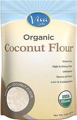 Viva Labs Organic 100% Pure Coconut Flour, 64 Oz