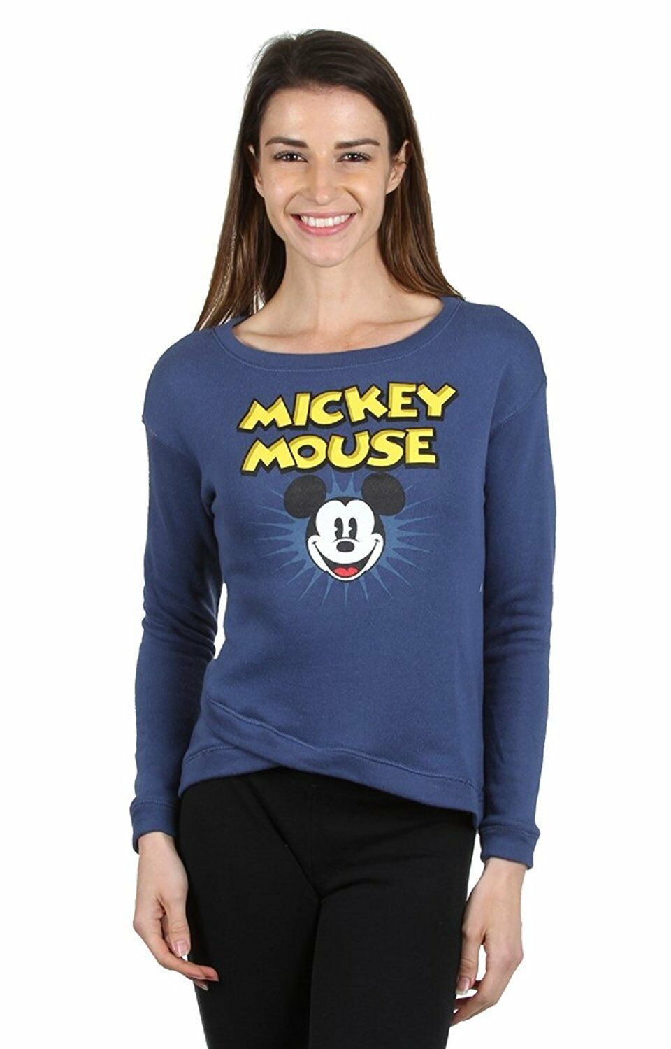 Disney femmes taille junior mickey mouse col rond manches longues clair pull