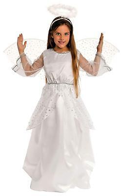 Weihnachtsengel Kostüm Kinder Mädchen inkl. Flügel Silber-weiß - Engel -087207 ()