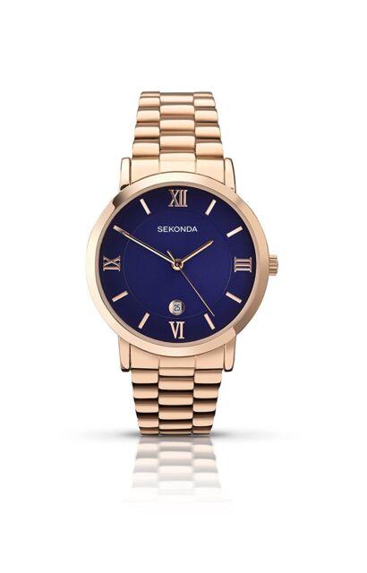 Sekonda Men's Quartz Blue Dial Rose Gold Bracelet 1090.27 RRP £59.99