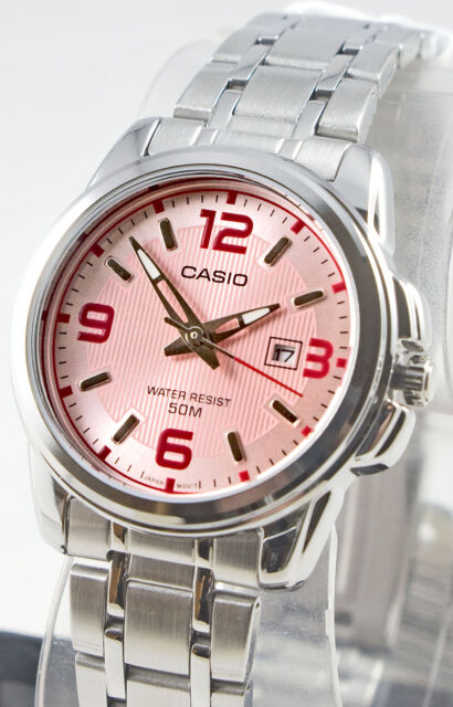 Casio LTP-1314D-5AV Ladies Pink Analog Watch Steel Band Date Display New