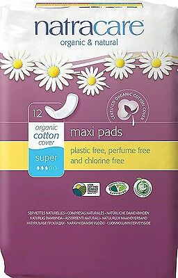 Natracare Maxi Pads Super With Organic Cotton Cover 12 Ea...