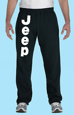 Sweat Pants, Fleece, Black with Pockets, Auto Sports, Jeep Leg Print, White/Gold Fleece T-shirt Sweatpants