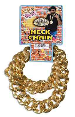 Hip Hop Old School Bling Giant Neck Chain Gold Plastic 80s Pimp Costume Accesory - Old School Plastic Halloween Costumes