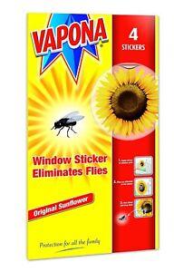 PACK OF 4 VAPONA FLY KILLER WINDOW SUNFLOWER STICKERS ELIMINATES FLIES