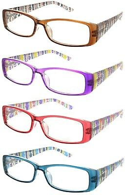 Reading Glasses Clear Square Frame Spring Hinge Aztec Readers for (Clear Frame Readers)