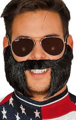 Mens Black Moustache With Sideburns Comedy Fake Fancy Dress Costume Accessory - Fake Sideburns