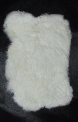 GENUINE RABBIT SKIN FUR PELT SOFT LEATHER HIDE CRAFT DECORATION WHITE (ONE)