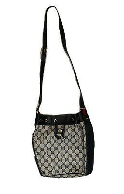 Vintage Gucci GG Monogram Crossbody Strap Black Shoulder Handbag w' Dust Bag