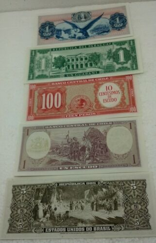 Lot of 5 Crisp Uncirculated Bank Notes Brazil, Chile, Paraguay, Colombia NM