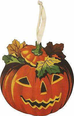 Retro Pumpkin Jack O Lantern Hanging Sign Primitives By Kathy Vintage Style 9 in